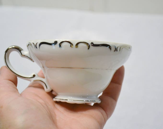Vintage Ucagco Heirloom Coffee Cup Teacup White Platinum Scrolls Japan Replacement Panchosporch