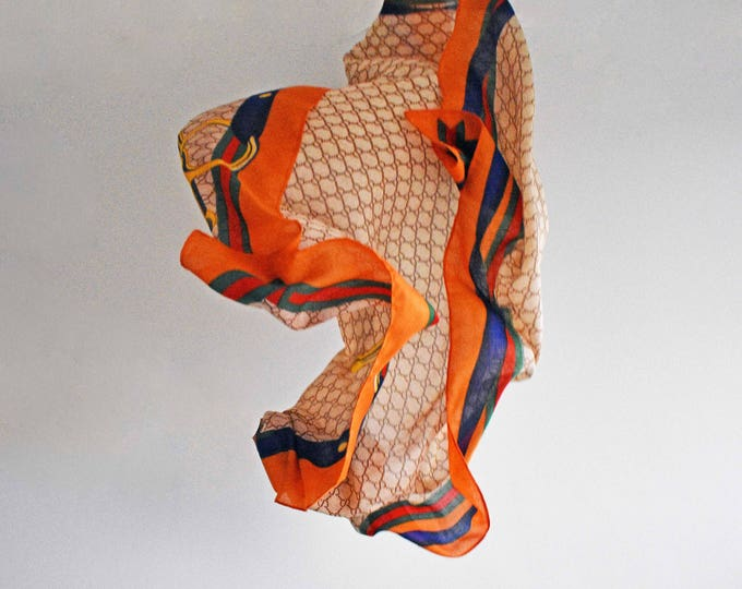 Vintage Scarf, Harrods Scarf, Equestrian Scarf, Orange Scarf, Square Scarf, Large Scarf, Vintage Scarves, Beach Cover Up, Head Scarf, 1980s