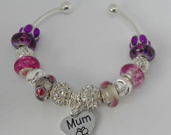 Mum Silver Plated Charm Bracelet with Murano Beads and Charm