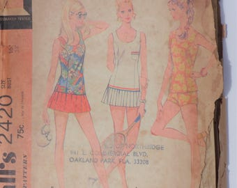 Vintage 1970 McCall's Pattern 2420 Tennis Dress, Bathing Suit, Shorts Size 16