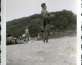 Vintage Snapshot Photo of Hunky Shirtless Guy at Beach 1950's, Original Found Photo, Vernacular Photography