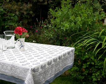 TABLECLOTH FINE COTTON White with Steel Grey Paisley motif