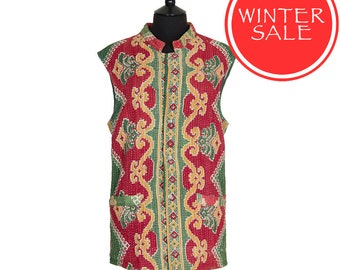 WINTER SALE - KANTHA Waistcoat - Green and red. Reverse similar - Large size