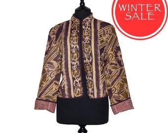 WINTER SALE - X Large size - Short Kantha Jacket - Dark aubergine. Reverse dusty pink.