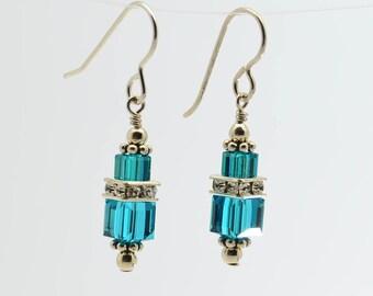 Blue Zircon Swarovski Crystal Squaredelle Earrings // December birthstone earrings // Bridesmaid earrings // Gifts for under 20