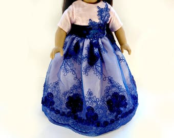 "Designer pink Princess Ball Gown 18"" Doll, American Girl Doll Dress ~ Lace Bow Royal Blue Jewel"