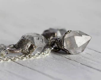 Crystal Necklace Herkimer Diamond Pendant Electroformed Silver Minimal Jewelry Quartz Necklace Rustic Pendant Sterling Silver