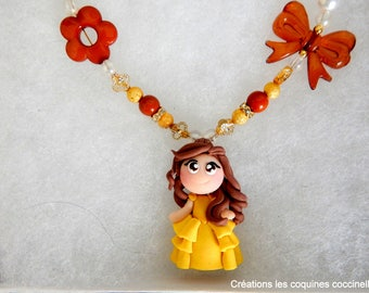 Necklace and the beast, beautiful polymer clay, beauty and the beast necklace, children necklace, necklace, fimo necklace, girl gift