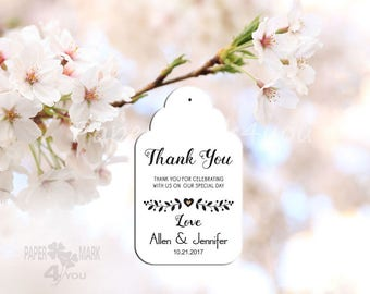 """24 White Custom Wedding Tags 3.35x2"""" _Thank You Tags_ Bridal Favor Tags_ Personalized Tag_Placecard_ Wish Tree Tag_ Rustic Wedding_Any Color"""