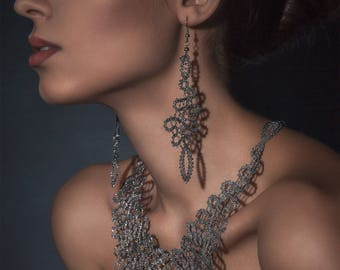 Baroque | Lace Earrings | Long Statement Lace Earrings | Handmade Idrija Bobbin Lace Jewelry