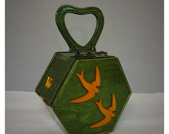 Vintage style wood purse , handbag green and yellow swallows, handmade by V.and The Wolf .
