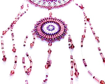 Dreamcatcher-Beaded dream catcher-Wall Hanging-OOAK Dreamcatcher-Wall Decor-Purple dreamcatcher-Dreamcatcher Wall Hanging-Dreamcatchers