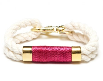Nautical Rope Bracelet / Ivory Rope Bracelet / Gold Nautical Bracelet / Nautical Jewelry / Nautical Gift / Pink Rope Bracelet
