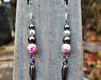Pink Speckled Pottery Fight Night Earrings