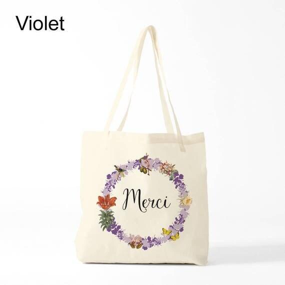 Merci, Tote bag, purple version, Cotton bag, sports bag, yoga bag, baby bag, groceries bag, novelty gift, canvas bag, gift coworker