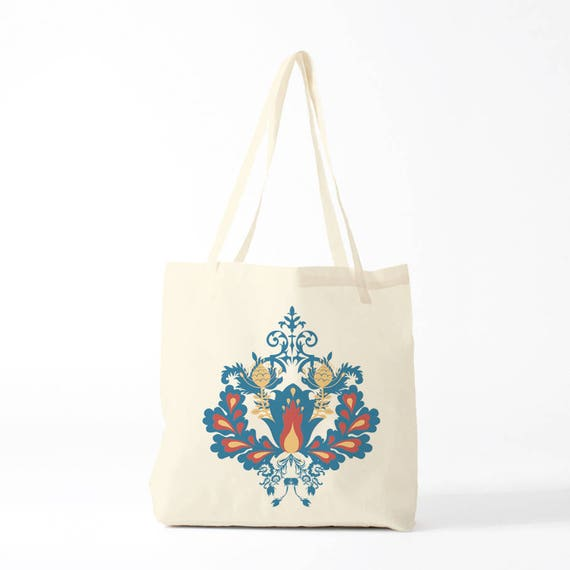 Tote bag, Damask pattern, blue version, groceries bag, novelty gift, canvas bag, gift coworker, gift woman, gift sister.