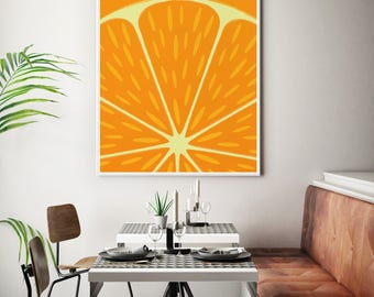 Kitchen Art Framed Citrus Print, Fruit Print, Orange Print, Childrens Decor Poster, Child Art Print, Kitchen Wall Art, Extra Large Wall Art