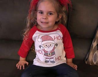 Christmas Shirt - Raglan - Girls Christmas Shirt Boys Christmas Shirt- Embroidered - Santa Shirt - Ho ho ho Embroidred Santa Christmas Shirt