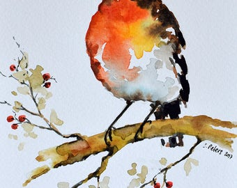 ORIGINAL Watercolor Painting, Robin Bird with Berries Illustration, Christmas Art 6x8 Inch