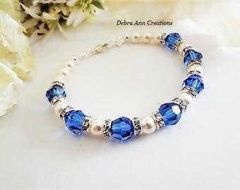 Sapphire Crystal Bracelet Bridal Bracelet Royal Blue Wedding Jewelry Something Blue for Bride Bracelet Sapphire Bracelet Bridesmaid Bracelet