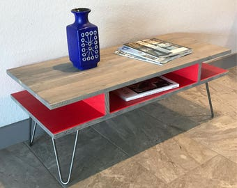 Double Cantilever Coffee Table, Modern, Mid Century, Hairpin Legs, Desk, TV