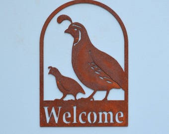 WE603 Quail and Chick Welcome Sign   Metal Wall Art with Rust Patina   Rusty Bird Silhouette Door Sign by Elegant Garden Design