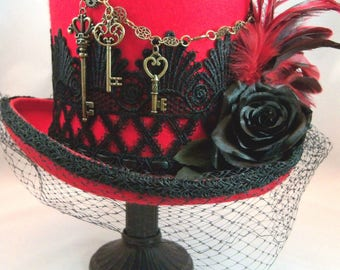 Steampunk, Steampunk Wedding, Victorian Hat, Steampunk Top Hat, Red and Black Hat, Grey Ghost Toppers, Kentucky Derby Hat