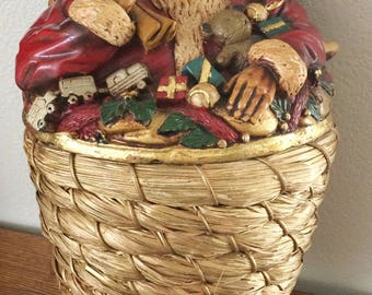 "Vintage Very Large 19"" Hanging Gold Color Weaved Basket With Santa Resin Lid Detailed"