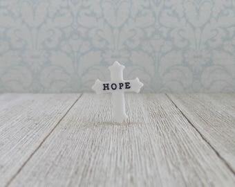 White Cross -  HOPE - Encouragement - Religious - Faith - Jesus - Hope - Salvation - Preacher - Motivation - Pastor - Lapel Pin