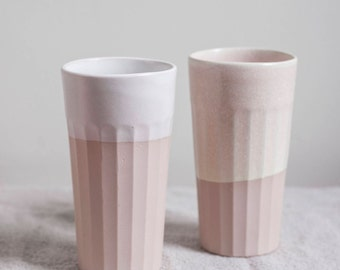 Handmade Slipcast Pink Cup Set