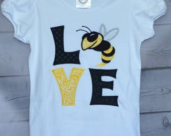 Personalized LOVE Hornets Football Applique Shirt or Onesie