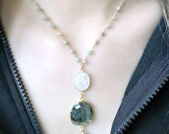 labradorite & moonstone necklace moonstone necklace labradorite necklace 3 gemstone pendant moonstone jewelry labradorite chain boho gift