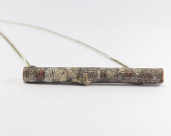 Natural Birch Wood Necklace with Silver color chain. Eco friendly Handmade in Latvia for nature lovers