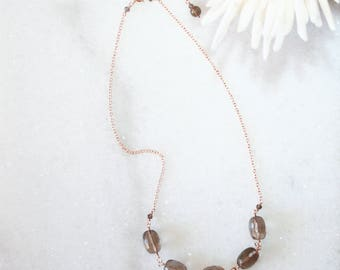 Faceted Smoky Quartz Necklace, 14K Rose Gold Filled, Brown Gemstone Necklace, Feminine Jewelry, Gift For Wife