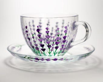 Tea set cup and saucer Glass teacup for woman Flowers mug, Lavender cup Tea party Gift