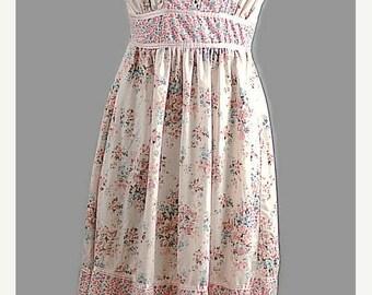 SALE Boho Vintage PInk Cotton Sun Dress 1970 Gunne Sak Style Dress Size XS