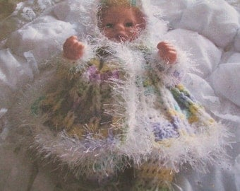 preemie  crochet pattern for  hooded matinee coat and leggings