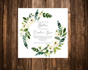 Baby Girl Baptism Invitation; Square; Floral Wreath; Green and White; Printable or set of 10