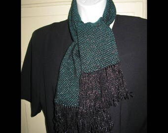 Dazzling Dressy Metallic Green Christmas Holiday Handwoven Scarf