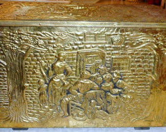 Antique Embossed Tinder Box - Wood Lined - Hammered - Copper/Brass with English Scenes - Beer Garden