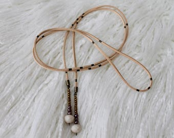 Tan Suede Wrap Necklace