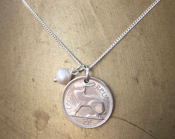Irish coin necklace 1965, 1966, 1967 or 1968 Ireland hare rabbit coin pendant, 49th, 50th, 51st or 52nd birthday gift for her, woman, mum