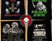 Screen printed back patches: Hellraiser, Friday the 13th, Silence of the Lambs, Nightbreed, Negan