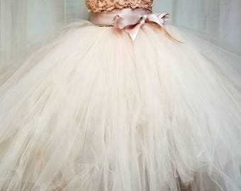 Flower girl dress - Tulle flower girl dress - Champagne Dress - Tulle dress-Infant/Toddler - Pageant dress - Princess dress - flower dress