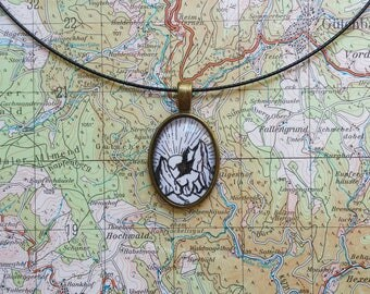 Necklace with pendant & miniature drawing | mountains with sunrise
