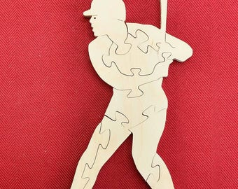 Baseball Player Wood Puzzle - Color Your Own Craft Puzzle - Kids Craft Project