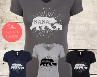 NANA Bear! V Neck Shirt, Grandma, Grandmother, Grandparents , gift, soon to be, Tee, present, family, expectant, baby