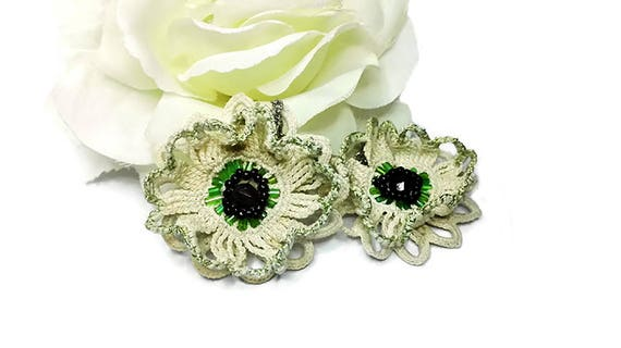 Cream white crochet lace flower earrings with green black beads