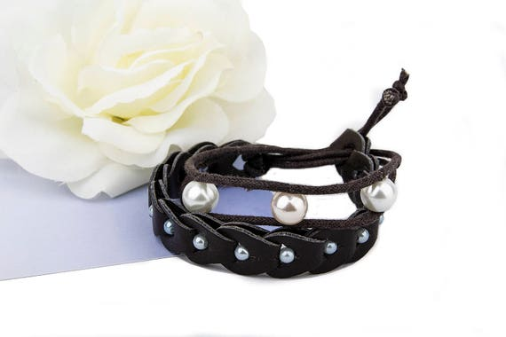 Recycled dark brown faux wrap leather bracelet for woman with beads
