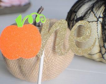 One Cake Topper, Pumpkin cake topper, Halloween cake, Halloween Party, Thanksgiving cake topper, Thanksgiving party, Thanksgiving Dinner